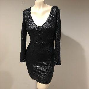 Bongo Sequin Mini Dress Long Sleeve Size 5 Black